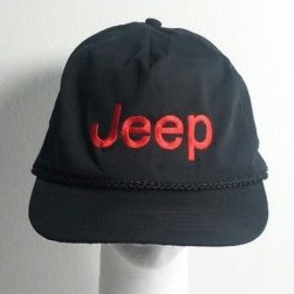 8cec487e212 KC Other - JEEP Ball Cap Dad Hat Rope Trim Black Red KC